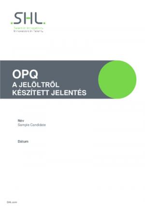 OPQ A jelöltről készített jelentés