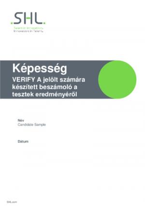 Verify Interactive G+ teszt - Jelölteknek szóló jelentés